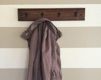 four hook reclaimed wood coat rack // towel rack