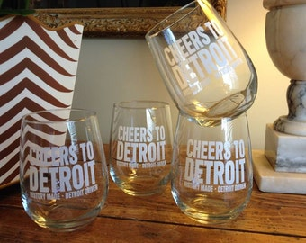 Detroit Scroll – Cheers to Detroit – Wine Glasses (Set of 4)