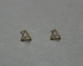 10K Gold tiny Geometric Pyramid Line Earrings,10K Solid Gold, minimalist stud, Geometric Triangle Line Earrings - TG047