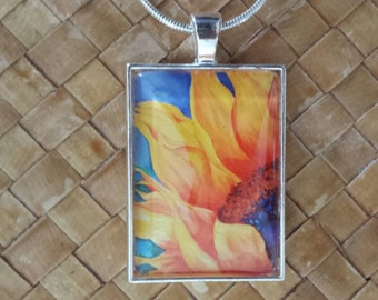 Sunflower watercolor rectangle  glass pendant & snake chain.
