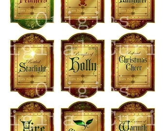 Christmas Apothecary Labels, Magic Potion Ingredient Labels, Digital Collage Sheets instant download