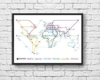 Art-Poster 50 x 70 cm - World Metro Map