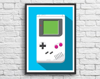 Art-Poster 50 x 70 cm - Nintendo Game Boy (Flat Design)