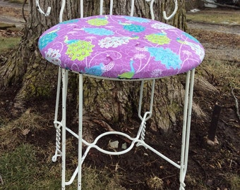 Vintage Twisted Iron Wire Vanity Chair Seat Stool Ice