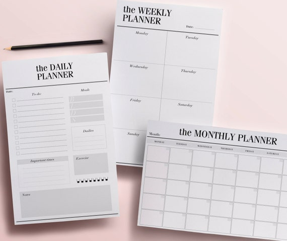 Printable Planner Pages Daily Weekly and Monthly Planners