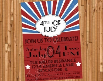 Modern 4th of July Party Invite (Memorial Day & Labor Available Too!) (Printable)