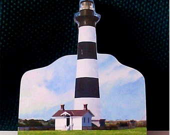 Bodie Island Light on Hatteras National Seashore wood collectible