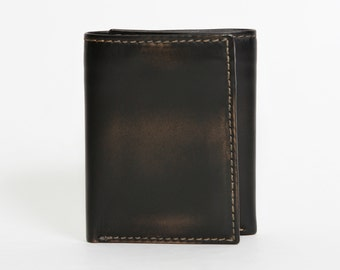 ZIP TRIFOLD Black Mens Leather Wallet - PERSONALIZED Mens Trifold Wallet - Hidden Pocket Trifold