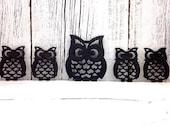 Vintage Cast Iron Owl Trivets | Owl Wall Decor | Owl Coasters | Set of 5