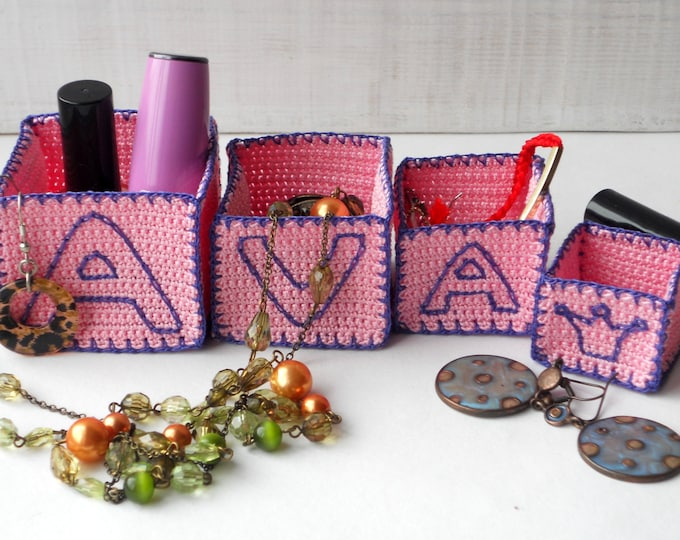 Custom Christmas Gift, For Ava, Custom Name, Pesonalized Jewelry Bins for Ava, Original Personalized Gift, Miniature Boxes Set, Ava Name