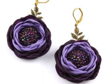 Textile flower earrings purple