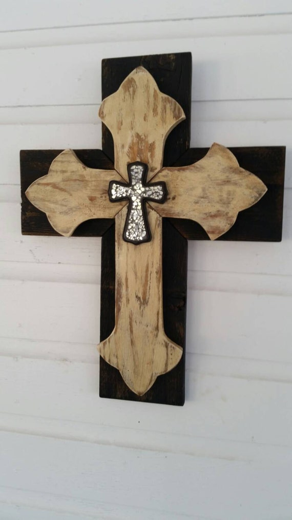 Unique Shabby Chic Wall Cross Sale Rustic Wood Wall Hanging: home decor wall crosses