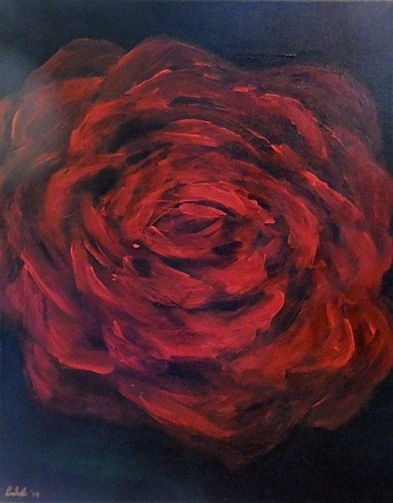 Original hand painted painting red rose black by aparticle for Acrylic painting on black background