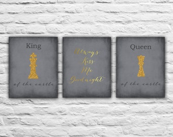 King And Queen Art Prints Bedroom Decor Print His And Hers Anniversary Gift