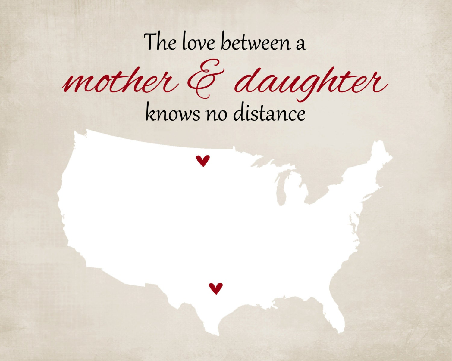Love Knows No Color Quotes: Gift For Mom Mother's Day Grandma Long Distance Map