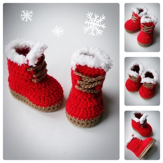 Christmas Baby Booties Red Booties Crochet Baby by ...