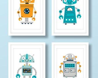 Childrens robot print set , boys robot print set, robot art, robot nursery prints, nursery decor, boys bedroom, robot decor, kids room
