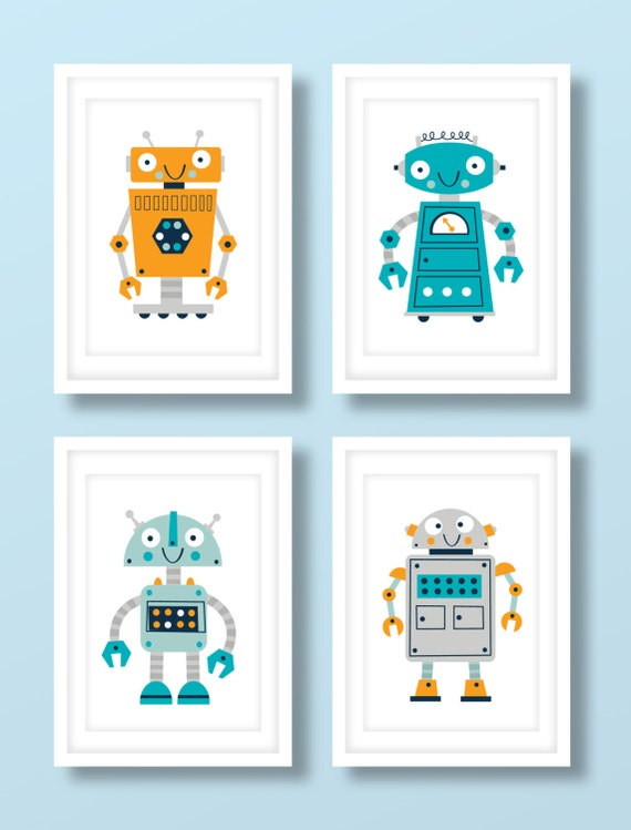 Children's robot print set.