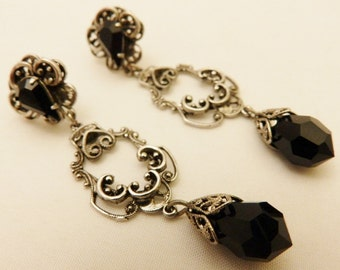 Silver Tone Black Teardrop  Victorian Style Earrings
