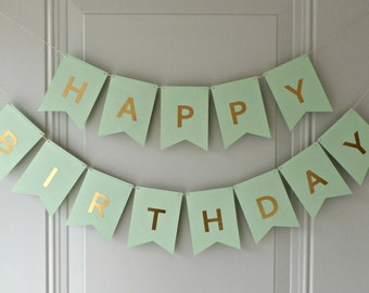 Happy Birthday Banner - Mint Green with Gold Foil Letters