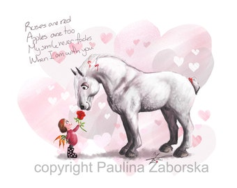 Love Hearts Valentine Draft Horse Percheron Rose chalk print
