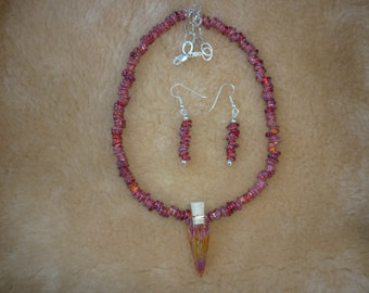 Persimmon hand blown boro bottle and bead necklace and earring set.