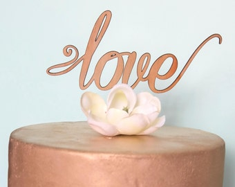 Rustic Cake topper - love - Wedding Cake Topper - Raw Wood