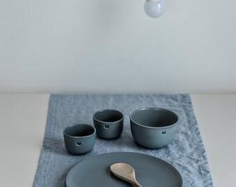 Linen table runner. Bluish grey handmade linen table runner.