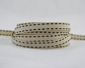 """3 yards of 3/8"""" (10mm) Saddle Stitch Grosgrain Ribbon (Light Cream with Brown Stitches)"""