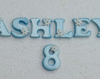Edible Frozen name & number cake topper. Personalised Frozen cake decoration. Disney Frozen cake topper.