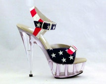 VIP 6 inch Handmade USA Flag Print Double Buckle Clear High Heel Platform Woman Shoes