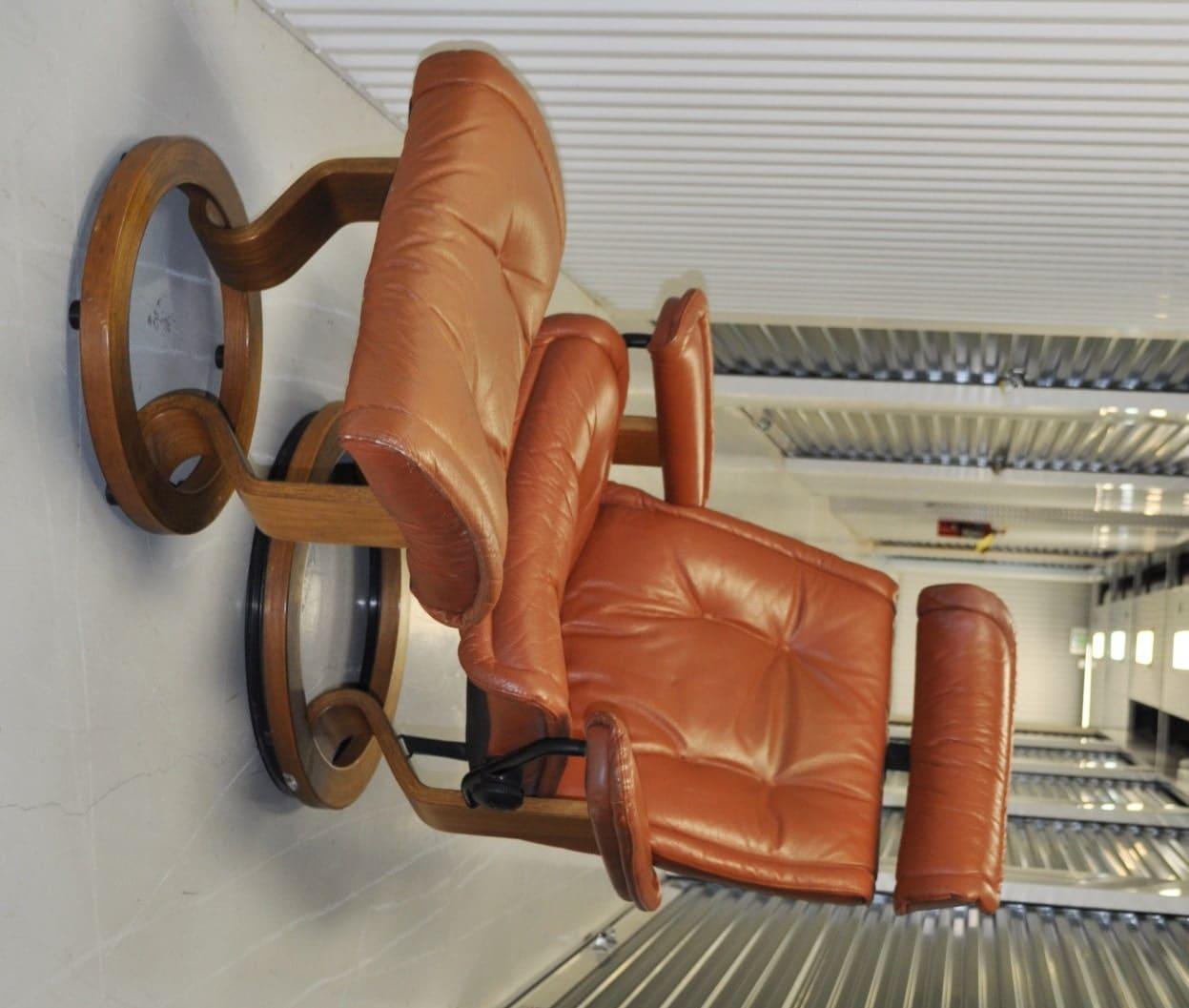Danish Scandinavian Chair Recliner & Ottoman, Brown ...