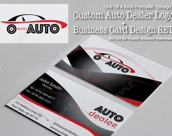 One Of A Kind  (OOAK) Premade AUTO Dealer Logo Design + Business Card Design SET, Will Not Be Resold (Includes Watermark)