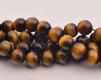 15 Inch  Yellow  Tiger's eye round Bead 8mm Loose Bead