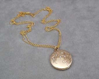 Pendant/Locket/Pocket Watch Fob, Antique 1874 Locket, Victorian, Hand Engraved Floral/Rhinestone Locket, 14KYG Filled, Mint Condition, Gift