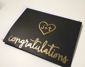 Personalized Gold Congratulations Card, Gold Wedding Card, Custom Calligraphy, Personalized Gold Embossing