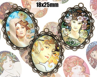 Digital Collage Sheet Alphonse Mucha 18x25mm Printable Oval Download for pendants magnets Cabochons jewelry