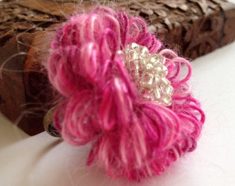 Pink Flower Ring/ Crochet flower ring/ Textile ring/ Fiber jewelry/ Beaded ring/ Cool ring/ Modern  ring/ Statement jewelry/ Boho chic