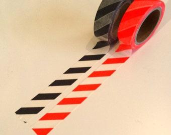 Set of dark grey & orange striped washi tape