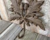 Vintage Looking Cast Iron Oak Leaf with Acorns Hanger,  Vintage Cast Iron, Vintage Hat Hanger