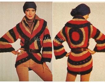Crochet Cardigan Pattern Vintage 70s Tricolor Circle Wrap Cardigan Boho Crochet Sweater Pattern Crochet Coat Jacket Instant Download