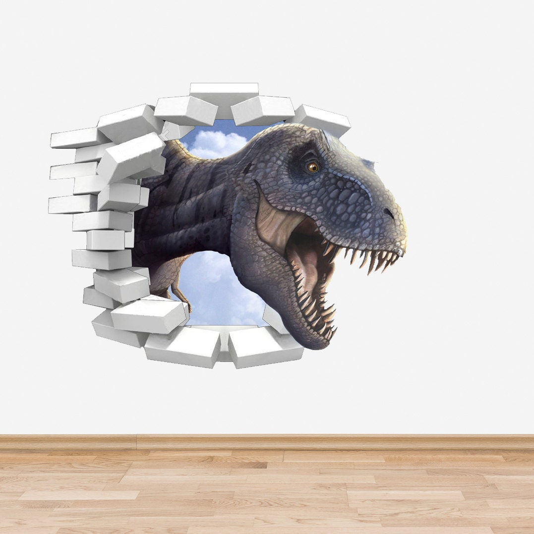 Dinosaur wall decal trex coming through wall sticker boys zoom amipublicfo Image collections
