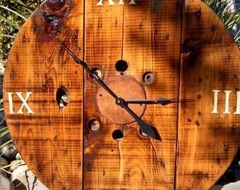 Reclaimed wood spool clock