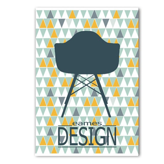 affiche scandinave avec chaise eames motif par alexiableu sur etsy. Black Bedroom Furniture Sets. Home Design Ideas