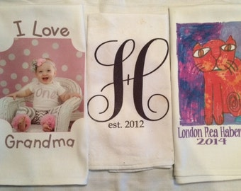 Personalized / Custom Hand Tea Towel (choose or create an image or text)