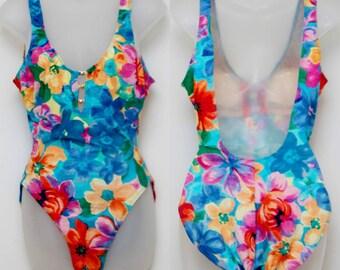 """Rare 80's Vintage """"LA BLANCA"""" One-Piece Open-Back Multi Color Floral Swimsuit Sz: 12 (Women's Exclusive)"""