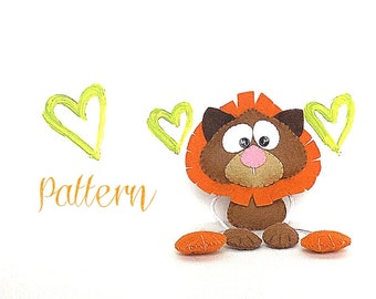 Skinny Lion-PDF sewing pattern-DIY-Jungle animals party favors-Cute felt toy pattern-Instant download-Small gifts-Valentine's day present