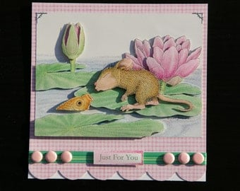 Cute House Mouse and Goldfish 'Just For You' 3d Card