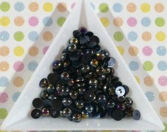 Black - 5mm Flatback AB Pearls - 5mm Flat Back Pearls - 200 pieces