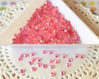 Pink acrylic rhinestones - 3mm Rose Pink AB Jelly Rhinestones - 250 pieces